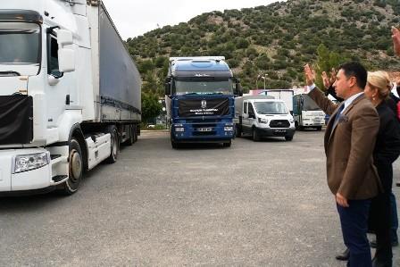 bodrum belediyesi Bodrum'dan 2 TIR dolusu malzeme Elazığ'a doğru yola çıktı… elaz  g yard  m malzemesi 1