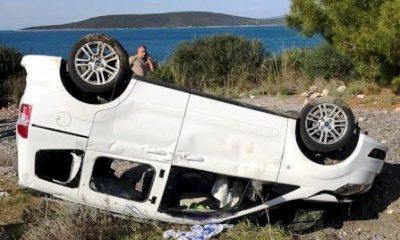 güvercinlik kaza Direksiyon hakimiyetini kaybedince takla attılar… guvercinlik kaza 400x240