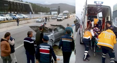 milas kaza Refüje çarpıp takla attı… milas kaza 2