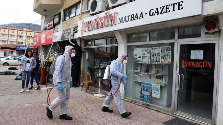 Gazete ofisleri dezenfekte edildi…
